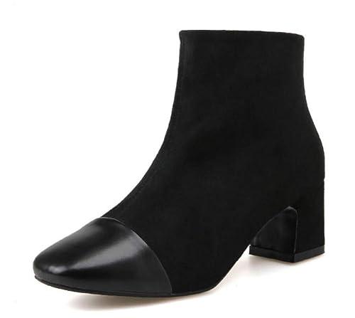 Shiney Botines De Tacón Alto De Mujer Botines De Algodón Chelsea De Terciopelo: Amazon.es: Zapatos y complementos