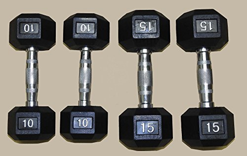 TDS Rubber Coated Hex Dumbell with Contoured Chrome Handle Package 2×10 2x15lb 50lbs