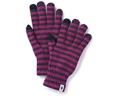 Striped Nylon Gloves (Smartwool Striped Liner Glove Meadow Mauve H XS)
