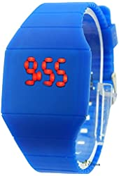 2013 Latest Touch Screen Watch Red Numbers Ultra Thin Dark Blue Color