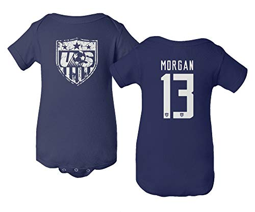 TURXIN New Soccer Shirt America USA National Team #13 Alex Morgan Little Infant Baby Short Sleeve Bodysuit (Navy, ()