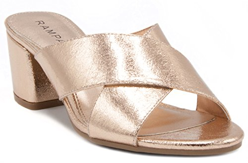 Couture Gold Foil (Rampage Women's Hannie Heeled Cross Banded Slide Sandal 9.5 Rose Gold Foil)