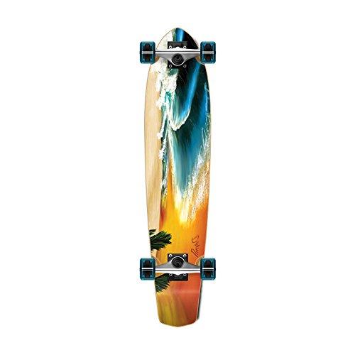 "Yocaher SlimKick Tail Beach Series Longboard Complete Skateboard Cruise Vintage Style 36"" x 8"" (Complete - Slimkick - 01 - Beach)"