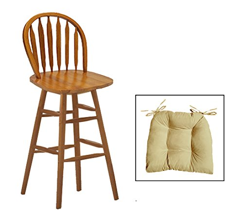 1 - Custom Counter Height Oak Finish Swivel Seat Arrow Back Bar Stool with Chair Pad - Choose from 24