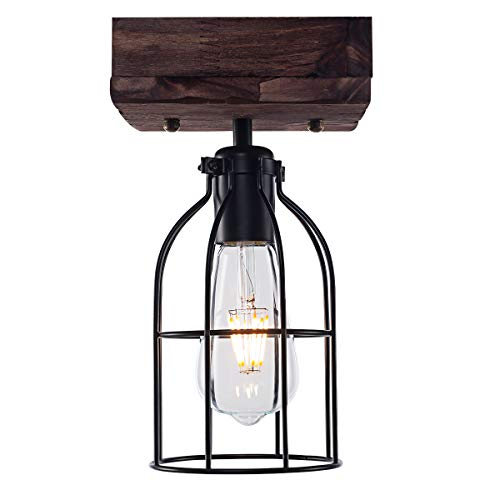 YaQi Lighting Vintage Industrial Wood Ceiling Light Rustic Flush Mount Ceiling Light Black Metal Cage Lighting Fixture for Kitchen Island Foyer Hallway, Farmhouse Style