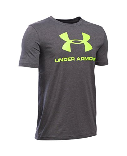 Under Armour Boys' Sportstyle Logo T-Shirt, Carbon Heather/Fuel Green, Youth X-Large
