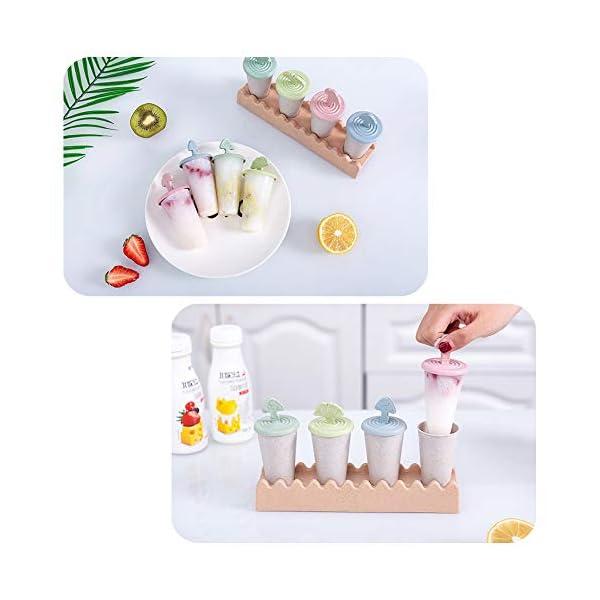 Maojie - Stampo per gelato fai da te, con 4 scomparti, con vassoio 6 spesavip