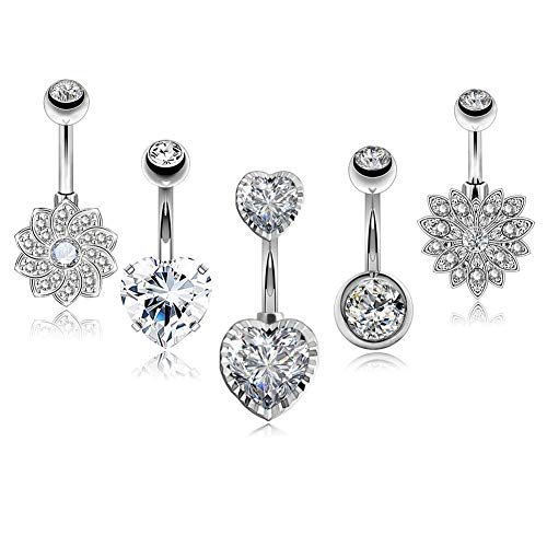 COCHARM Short Navel Rings 5PCS Stainless Steel Belly Button Ring Piercing Jewelry Heart Belly Rings