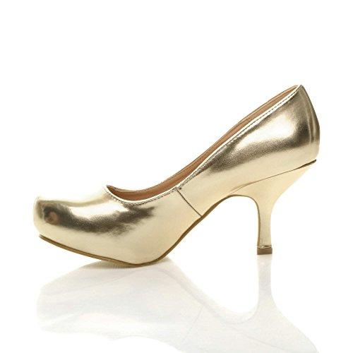 travail à élégant Or Métallique escarpins moyen talon Femmes chaussures soignée bas taille 7YxgnZqXw