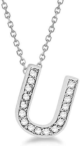 Colgantes de diamantes de la A a la Z Letras iniciales Collares en oro blanco sólido 14k Joyas personalizadas minimalistas hechas a mano