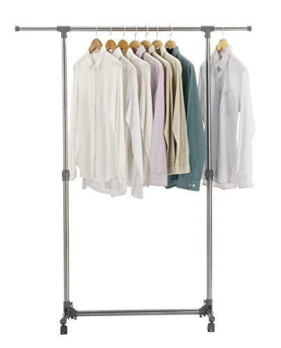 Finnhomy Stainless Steel Adjustable Rolling Garment Rack, Single Rail Rolling Clothes Rack, Extensible Clothing Hanging Rack with Industrial Wheels