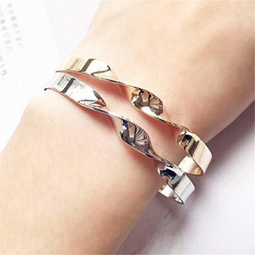 minimalist twist burnished gold silver metal bracelet lady bracelets fine bracele,Platinum Plated by Rankei bracelets (Image #5)
