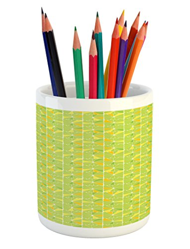 Pool Cells Tablecloth (Lunarable Geometric Pencil Pen Holder, Vibrant Color Abstract Lime and Lemon Slices in Square Cells, Printed Ceramic Pencil Pen Holder for Desk Office Accessory, Apple Green Orange and Yellow)