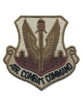 AF-P01E, Air Combat Command, (Desert) w/Fastener USAF PATCHES (Air Patch Command Combat)