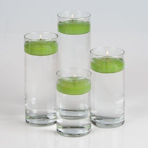 - Set of 4 Eastland Cylinder Vases and 4 Green Richland Floating Candles 3