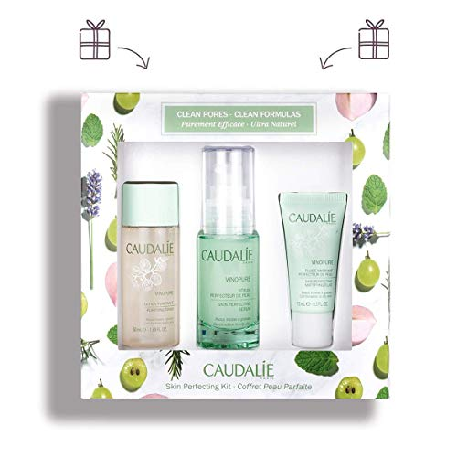 CaudalÍe Vinopure Gift Set. Refining Vinopure Skin Perfecting Serum (30ml), Purifying Vinopure Toner (50ml), and Hydrating Vinopure Skin Perfecting Mattifying Fluid (15ml)