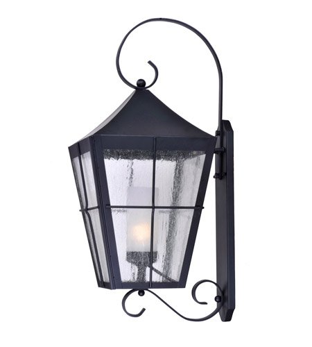 Maxim 85337CDFTBK Revere 1-Light Outdoor Wall Lantern, Black Finish, Seedy/Frosted Glass, GU24 Fluorescent Fluorescent Bulb , 26W Max., Wet Safety Rating, 2700K Color Temp, Glass Shade Material, 1760 Rated Lumens