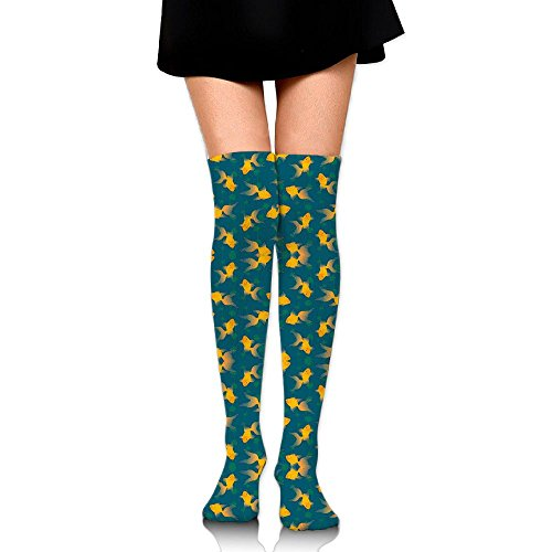 ゴルフメイエラ自己キンギョ 金魚 ストッキング サイハイソックス 3D デザイン 女性男性 秋と冬 フリーサイズ 美脚 かわいいデザイン 靴下 足元パイル ハイソックス メンズ レディース ブラック