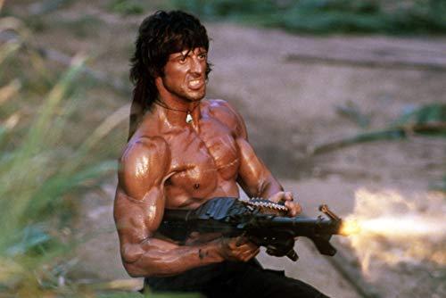 Rambo: First Blood Part II Firing Machine Gun Sylvester Stallone 24x18 Poster
