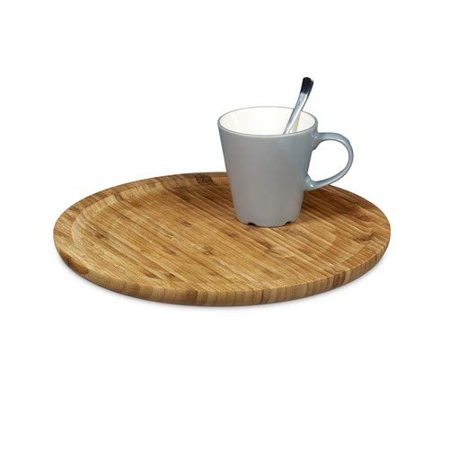 - Relaxdays Bamboo Serving Tray Round Diameter 33 cm Bamboo Plate for Serving Cheese Meat Pastries Snacks, etc. Wooden Platter Decorative Plate Tray, Natural Brown