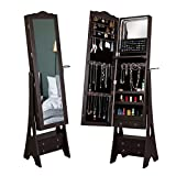 Yokstore Jewelry Cabinet Organizer LED Mirrored Jewelry Storage Armoire with Full Length Standing Large Capacity Makeup Dressing Mirror Wardrobe for Bedroom,Brown