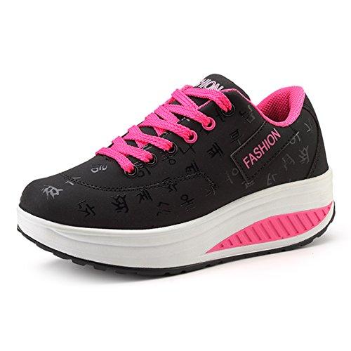 Frauen 42 Atmungsaktiv Leicht Sneaker A Sportschuhe 35 Turnschuhe Outdoor Wedges Mesh Damen schwarz Plateau Größe wE7xqTZxXY