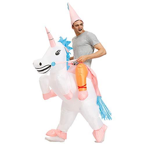 Kooy Inflatable Unicorn Costume Inflatable Halloween Costumes Inflatable Party Costumes Blow up Costumes Adult/Kids]()