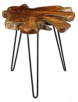 Bare Decor BARE-ET9863 Evan Accent End Table with Solid Root Top, Teak