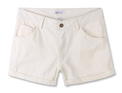 Vetemin Women's Juniors Comfy Fitted 5-Pocket Cuffed Casual Walking Chino Shorts Off White S ()