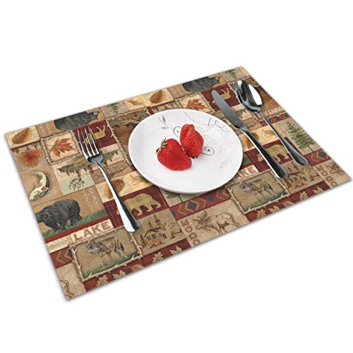 Rustic Lodge Bear Moose Deer Placemats Set of 4 for Dining Table Washable Woven Vinyl Placemat Non-Slip Heat Resistant Kitchen Table Mats Easy to Clean