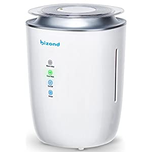 BIZOND Ultrasonic Humidifier Purifier - 24h Home Humidifiers Air Cleaner Purifying System, Warm & Cool Mist Humidifier, Ultra Quiet, Energy Efficient, Air Humidifier for Rooms and Office