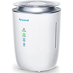 BIZOND Ultrasonic Humidifier Ultra Quiet - Warm and Cool Mist Humidifier for Bedroom, Home, Office and Baby Room - 24h Air Humidifier Aircare Energy Efficient, 4l Capacity, White Updated