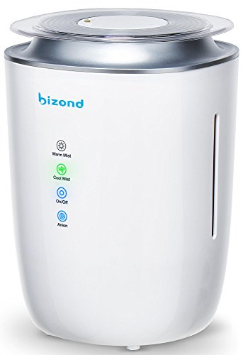 BIZOND Ultrasonic Humidifier Ultra Quiet - Warm and Cool Mist Humidifier for Bedroom, Home and Office - 24h Air Humidifier Cleaner and Water Purifying System - Energy Efficient, 4l Capacity, White