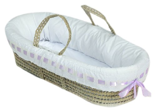 BabyDoll Pretty Ribbon Moses Basket Bedding Set, Lavender baby doll bedding 2050mb