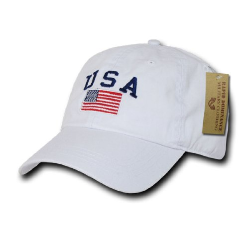 Rapid Dom USA Flag and Text Basic Style Polo Baseball Caps A03 White