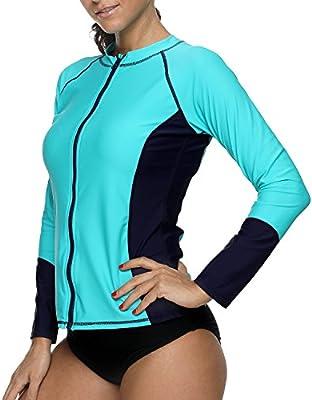 Women Zip Front Rash Guard UV Sun Protection Swimsuits Top UPF 50 Swim Shirt Long Sleeve Swimwear