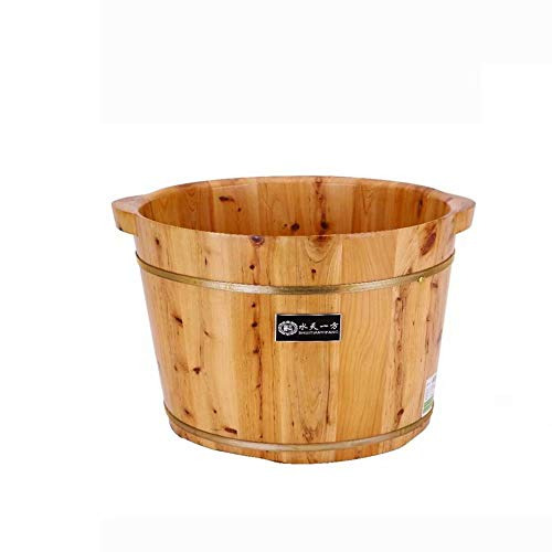 Wooden Foot Bath Barrel Household Foot Tub Health Thick Chinese Fir Wood Non-Basin Soaking Foot Spa Foot Bucket (Bath Bucket Wood)
