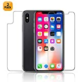 iphone 4 front screen protector - Maxdara Screen Protector for iPhone X/iPhone Xs Front and Back Tempered Glass Screen Protector Ultra-Thin Touch Accurate Anti-Scratch Glass Protector [Case Friendly] X/XS 5.8 inches (4 Pack)