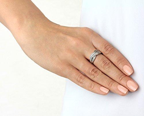 Carissima Gold - Or–1.58.409z–Femme–Or blanc 9carats avec diamant 0,25ct Triple croisé