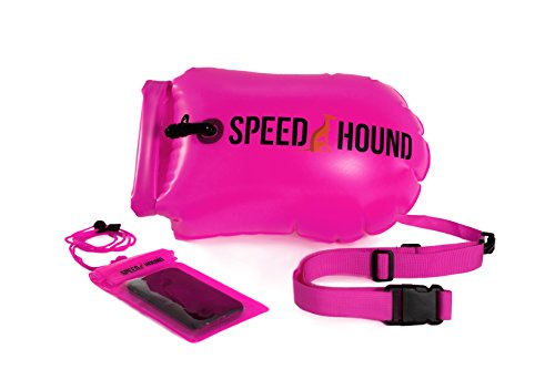 Sale! Speed Hound Swim Buoy - Open Water Swim Buoy Flotation Device With Dry Bag and Waterproof Cell Phone Case (High Vis Pink) for Swimmers, Triathletes, and Snorkelers. Floats for Safer Swims