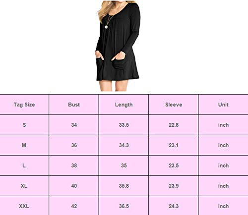 AMCLOS Womens U Neck Dress with Pockets Casual Loose Swing Simple Ruffle Plain Long Sleeve Dresses (Medium, U Neck-Black)