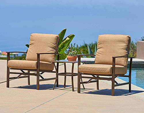 SUNCROWN Outdoor Furniture Chairs Glass Top Table Bistro (3-Piece Set) All-Weather | Rocking Feature, Thick, Durable Cushions Tie Down Straps |Fire Pit, Porch, Backyard, Pool Garden, Brown -