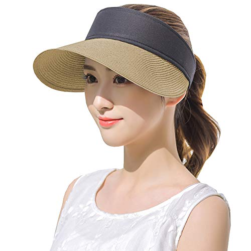 Womens Straw Sun Visor Hat Large Brim UV Protective Sewn Braid ()