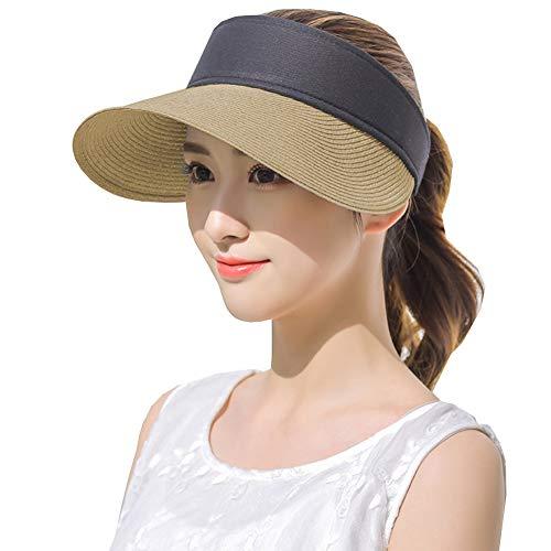 Womens Straw Sun Visor Hat Large Brim UV Protective Sewn Braid Khaki
