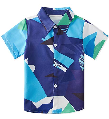 Cool Boys Dress (Big Little Boys Button Down Shirt Short Sleeve Blue Camo Camp Dress Shirt Casual Cool Kids Toddler Polo Aloha Beach Holiday Party Birthday Handsome Clothing 3D Blouse Top)