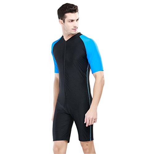 Sbart Men's One Piece Short Sleeve Front Zip Swimsuit Surfing Sun Protection (Asian XL, Blue Black)
