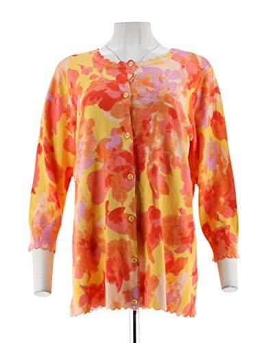 (Isaac Mizrahi Floral Printed Cardigan Scallops Yellow S # A305200)