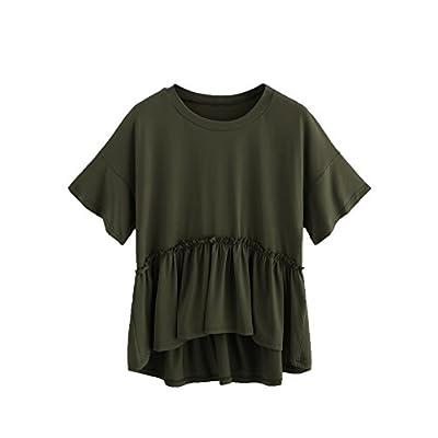 Romwe Women's Loose Ruffle Hem Short Sleeve High Low Peplum Blouse Top at Women's Clothing store