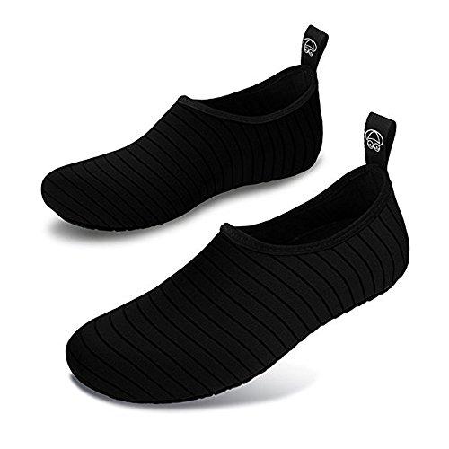 Damen Herren Kinder Outdoor Aquasock Wasser Schuh Barfuß Quick-Dry Aqua Socken für Beach Swim Surf Yoga Übung Schwarz