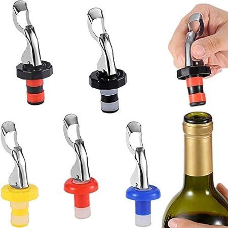 Tapón para botellas de vino,5 tapón de vino de silicona,con palanca,a prueba de fugas,reutilizable,para botellas de vino,champán,cerveza,bebidas,Plástico,silicona y acero inoxidable(5 colores)